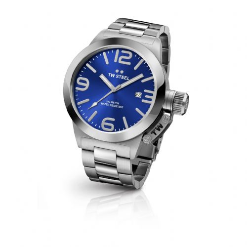 TW Steel CB12 Gents Canteen Stainless Steel Bracelet Watch With Blue Dial CB12